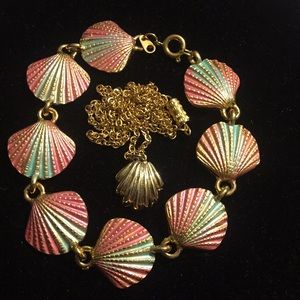 Vintage seashell necklace and enamel bracelet